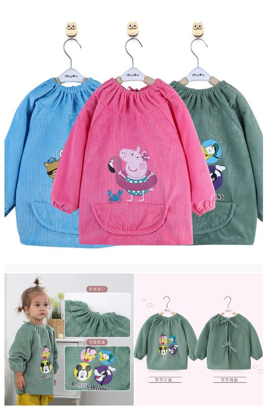 宝宝罩衣秋冬婴儿吃饭围兜防脏防水长袖儿童长袖围裙加大肥反穿衣