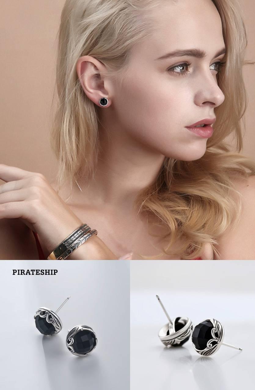 黑玉髓925银气质耳饰耳环个性耳钉