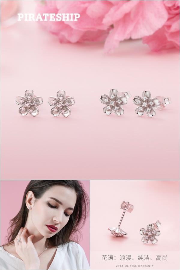 简约迷你小众樱花时尚气质纯银耳环