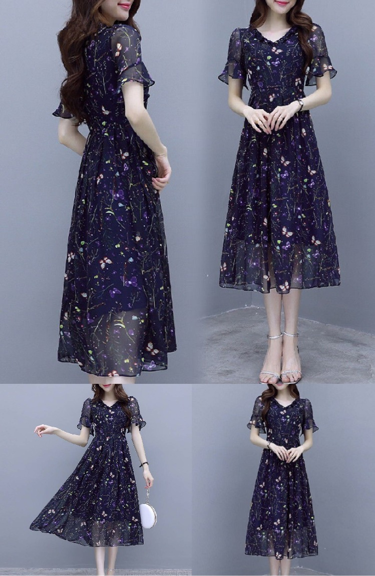 夏季新款女装气质韩版显瘦碎花雪纺连衣裙